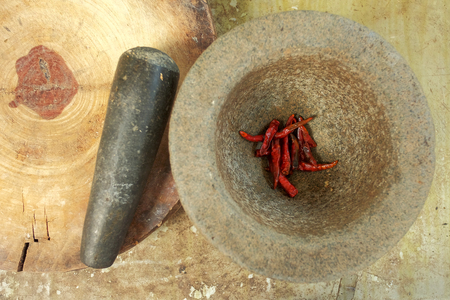 Flat lay of dry chili, main ingredient of making Thai spice food by blending and mixed with others herb and put in curry for spice taste and good smell, have space for write wording Stok Fotoğraf