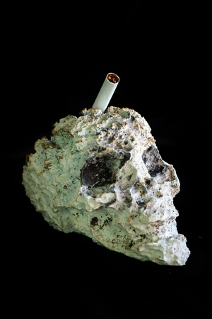 Skull shape cigarette ash tray and space for write wording, a warning symbolic to alert cigarette consumer realize danger of smoking that affect health and finance problem to themselves and family