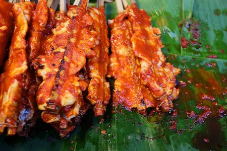 Grilled chicken with sauce, popular street food always found in Bangkok, Thailand and have space for write wording. Unhealthy food from dirt and carcinogen cause of cancer. Buy and eat carefully