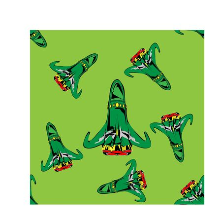 Seamless vector illustration of green tone spaceship on green solid background, modern pattern for making many kinds of artwork media, printing or textile Иллюстрация