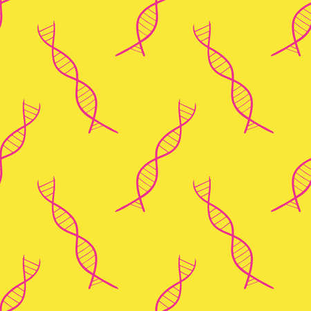 Seamless vector illustration of double strands DNA shape on pastel yellow background, pattern for making printing paper work or textile artwork, for scientific or healthcare related artwork Çizim