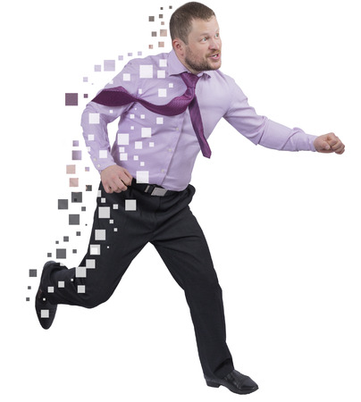 Running businessman in a hurry on white background 스톡 콘텐츠