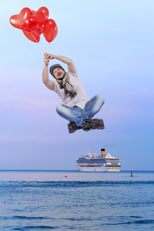 man flying: Young man flying on balloons over cruise ship in background