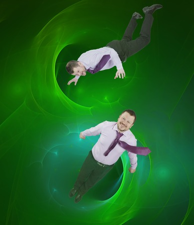 tumble down: Businessman falling down with abstract background Stock Photo