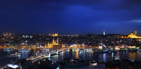 nite: Night view of Istanbul and Big Horn from Galata Tower, Bosphorus, Istanbul, Turkey