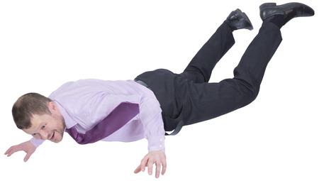 topple: Businessman falling down on white background Stock Photo