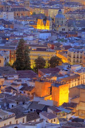 nite: Cityscape at sunset, Granada, Andalusia, Spain Stock Photo