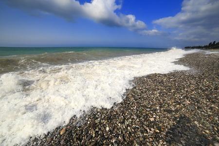 abkhazia: Black sea coast, Tsandripsh, Abkhazia, Georgia Stock Photo