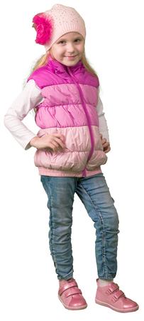 ni�as peque�as: Ni�a linda que salta en ropa de invierno