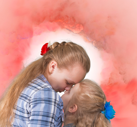 kiss love: Senior and junior sisters embracing and kissing on abstract background