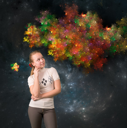 fractals: Teen girl thinking something about on abstract background with fractals