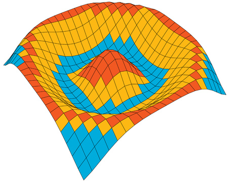 cosine: Colorful 3d surface dimentional graph of a mathematical function Illustration