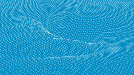 blue wave: Abstract 3d wireframe blue wave surface background Illustration