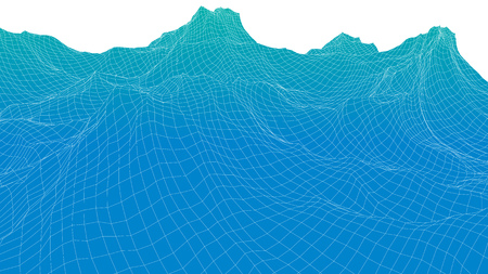 Abstract 3d wireframe surface looks like blue sea wave