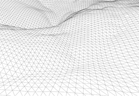 Abstract 3d wireframe wave surface scientific background 일러스트