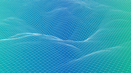 Abstract 3d wireframe wave surface scientific background Ilustracja