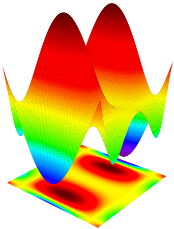 trigonometry: Colorful 3d surface dimentional graph of a mathematical function Stock Photo