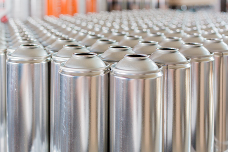 rows: Tin blank tubes in rows ready to be produced Stock Photo