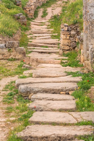 old buildings: Old paved road with natural stone plates