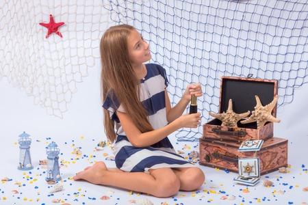 beautiful teen: Beautiful teen girl smiling with fishing net on background