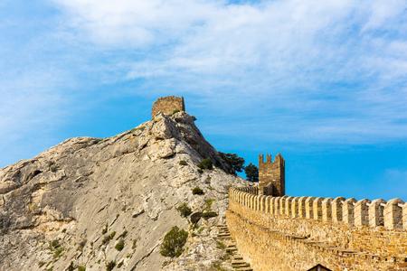 genoese: View of Genoese medieval fortress Sudak Crimea