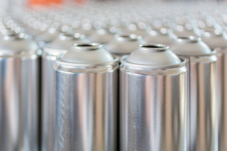 tin: Tin blank tubes in rows ready to be produced Stock Photo