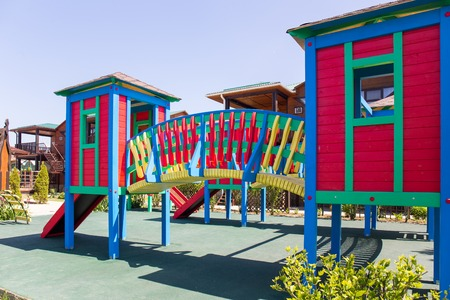 recreation: Kids playground children play site recreation equipment Stock Photo