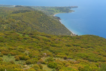 mediterranian: Mediterranian seashore landscape aerial view green sea coast Stock Photo