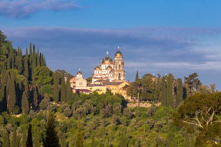 abkhazia: View on New Athos Monastery Abkhazia forest Stock Photo