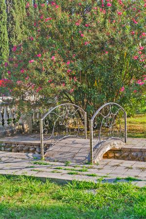 handrails: Small stone bridge with iron handrails in the park Stock Photo
