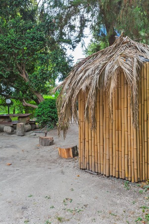 recreation: Bamboo hut at the recreation park zone Stock Photo