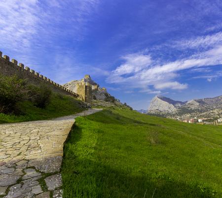 genoese: View of Genoese medieval fortress in Sudak, Crimea, Russia
