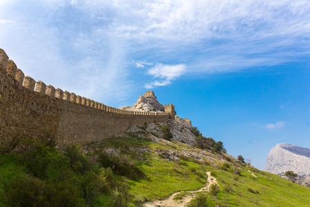 genoese: View of Genoese medieval fortress in Sudak, Crimea