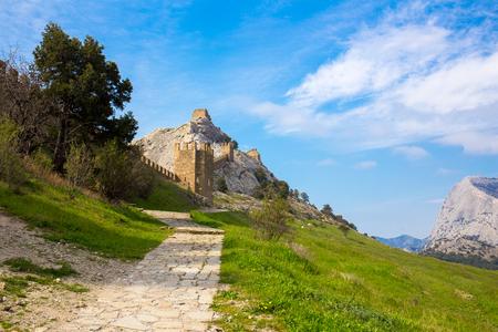 sudak: View of Genoese medieval fortress in Sudak, Crimea, Russia