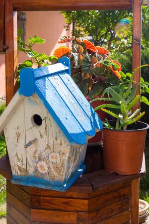 nesting: Colourful nesting box as garden element decoration