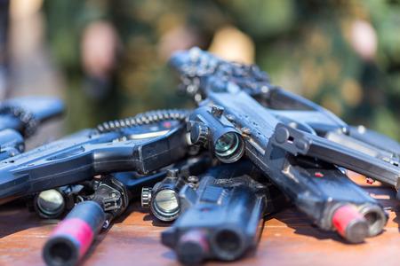 Laser tag speeltoestellen close-up bekijken Stockfoto