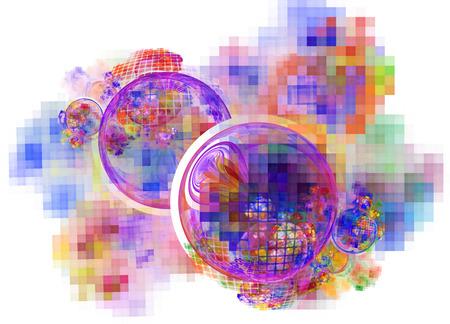창조적 인 디자인을위한 컴퓨터 렌더링 추상 프랙탈 그림 배경
