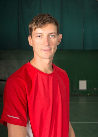 red tshirt: Portrait of a sportsman in red t-shirt
