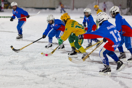 bandy: RUSSIA, ARKHANGELSK - DECEMBER 14, 2014: 1-st stage childrens hockey League bandy, Russia