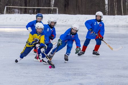 bandy: RUSSIA, KOROLEV - JANUARY 15, 2015: 3-d stage childrens hockey League bandy Russia