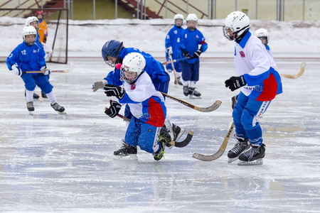 bandy: RUSSIA, KRASNOGORSK - MARCH 03, 2015: final stage childrens hockey League bandy, Russia