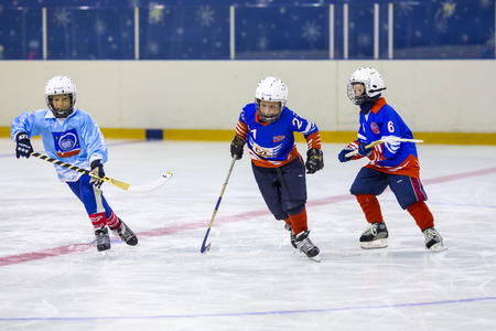 bandy: RUSSIA, KOROLEV - JANUARY 15, 2015: 3-d stage childrens hockey League bandy, Russia