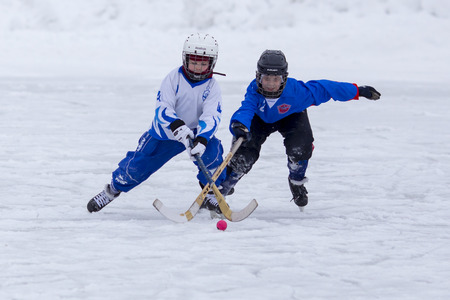 bandy: RUSSIA, ARKHANGELSK - DECEMBER 14, 2014: 1-st stage childrens hockey League bandy Russia Editorial