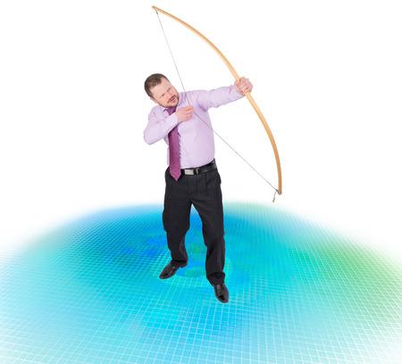 bowman: Businessman practicing archery on techno digital background