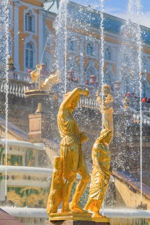 peterhof: Sculptures and fountains of Grand Cascade, Peterhof, Saint Petersburg, Russia Stock Photo