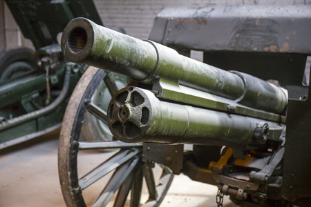 close up view: Old soviet military howitzer close up view