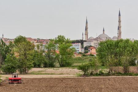 edirne: Farm field and Selimiye mosque, Edirne, Edirne Province, Turkey Stock Photo