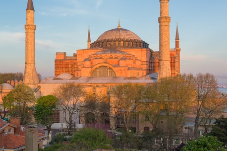 place of interest: ISTANBUL, TURKEY - APRIL 27, 2015: view on Hagia Sophia, former Christian temple built in the 5th century