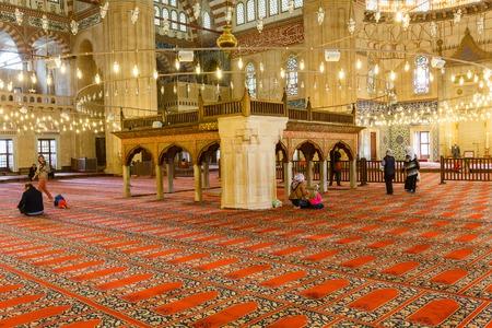selimiye mosque: EDIRNE, TURKEY - APRIL 28, 2015: people in Selimiye Mosque interior