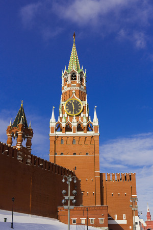 spasskaya: MOSCOW, RUSSIA - APRIL 15, 2016: Spasskaya Tower of Moscow Kremlin